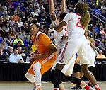 SIOUX FALLS, S.D. MARCH 24: Mercedes Russell #21 from Tennessee looks for room past Makayla Waterman #24 and Alexa Hart #22 from Ohio St. during their 2016 NCAA Women's Basketball Sioux Falls Regional Semifinal Friday night at the Denny Sanford Premier Center in Sioux Falls, S.D. (Photo by Dave Eggen/Inertia)