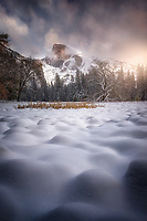 Wintery sunrise at Cook's Meadow. Yosemite National Park, CA