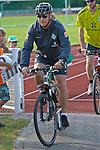 11.07.2010, An der Muehle, Norderney, GER, Trainingslager Werder Bremen 1. FBL 2010 - Day04 im Bild      Thomas Schaaf ( Werder  - Trainer  COACH)  mit Fahrrad mit  Helm Foto © nph / Kokenge