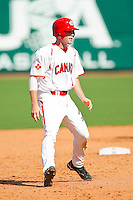 Chris Bisson #16 of the Canadian World Cup/Pan Am Team takes his lead off of second base against Team USA at the USA Baseball National Training Center on September 29, 2011 in Cary, North Carolina.  (Brian Westerholt / Four Seam Images)