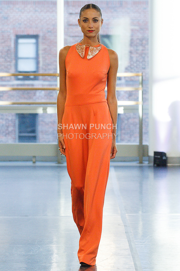 Model walks runway in an outfit from the Romas by Linda Rowe Thomas Spring Summer 2016 collection, during New York Fashion Week Spring 2016.