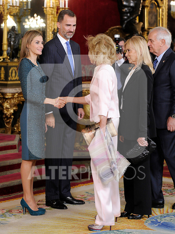 Queen Letizia of Spain and King Felipe VI of Spain with Maria Teresa Fernandez de la Vega, former Minister of the Presidency during the Spain's National Day Royal Reception at Royal Palace on October 12, 2014 in Madrid, Spain. October 12 ,2014. (ALTERPHOTOS/Pool)