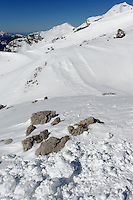 Winterwanderweg bei  Station H&ouml;fatsblick auf dem Nebelhorn bei Oberstdorf im Allg&auml;u, Bayern, Deutschland<br /> winter hiking trail near Hillstation H&ouml;fatsblick,  Mt.Nebelhorn near Oberstdorf, Allg&auml;u, Bavaria, Germany