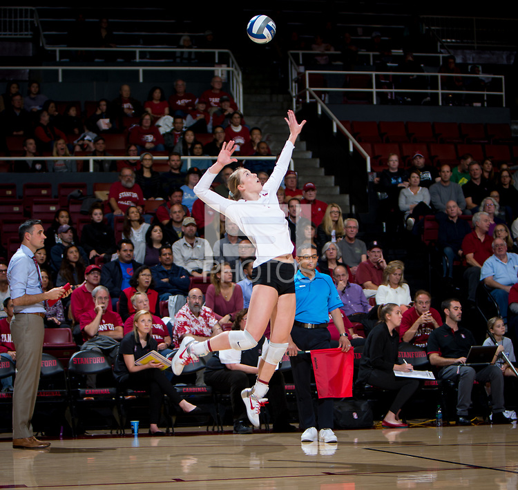 STANFORD, CA - December 1, 2017: Jenna Gray at Maples Pavilion. The Stanford Cardinal defeated the CSU Bakersfield Roadrunners 3-0 in the first round of the NCAA tournament.