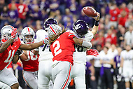 Indianapolis, IN - December 1, 2018: Ohio State Buckeyes defensive end Chase Young (2) causes a fumble during the Big Ten championship game between Northwestern  and Ohio State at Lucas Oil Stadium in Indianapolis, IN.   (Photo by Elliott Brown/Media Images International)