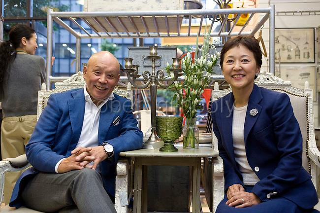 Hisa Tsuchida, president of Innocent Inc., and Nori Sakaue, executive director, pose for a photo at the company's Equipee store in Tokyo, Japan on  03 Oct. 2011.