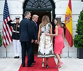 United States President Donald J. Trump and First Lady Melania Trump welcome King Felipe VI and Queen Letizia of Spain to The White House in Washington, DC, June 19, 2018. Chris Kleponis/ CNP