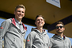 Marcel Kittel, Tony Martin and Rick Zabel (GER) Team Katusha-Alpecin on stage at the team presentation before the 116th edition of Paris-Roubaix 2018. 7th April 2018.<br /> Picture: ASO/Pauline Ballet | Cyclefile<br /> <br /> <br /> All photos usage must carry mandatory copyright credit (&copy; Cyclefile | ASO/Pauline Ballet)
