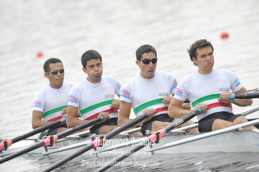 Poznan, POLAND,  MEX LM4X, Bow. Horacio RANGEL RAMIREZ, Sual GARCIA, Alan Eber ARMENTA VEGA, Juan JIMENEZ REGULES, competing in the   lightweight men's quadruple scull, repechage, on the fourth day of the, 2009 FISA World Rowing Championships. held on the Malta Rowing lake,Wednesday  26/08/2009  [Mandatory Credit. Peter Spurrier/Intersport Images]
