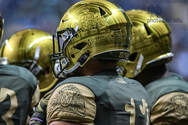 November 12, 2016; 2016 Shamrock Series uniforms and helmets. (Photo by Matt Cashore)