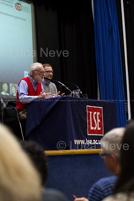 (From L to R) David Harvey &amp; Murray Low.<br /> <br /> London, 02/04/2014. Today LSE (London School of Economics) presented a public lecture called &quot;The 17 Contradictions of Capitalism&quot; hosted by the author of the book &quot;Seventeen Contradictions and the End of Capitalism&quot;, David Harvey FBA (FBA (British Distinguished Professor of Anthropology and Geography at the Graduate Center of the City University of New York, CUNY; he is a leading social theorist of international standing; he is among the top 20 most cited authors in the humanities and the world's most cited academic geographer; his work has contributed greatly to broad social and political debate; he has been credited with restoring social class and Marxist methods as serious methodological tools in the critique of global capitalism. He is a leading proponent of the idea of the right to the city, as well as a member of the Interim Committee for the emerging International Organization for a Participatory Society). Chair of the event was Dr Murray Low (Associate professor of human geography in the Department of Geography &amp; Environment at LSE).<br /> <br /> Here there is the link to podcast and video of the lecture: http://bit.ly/1lDCR30