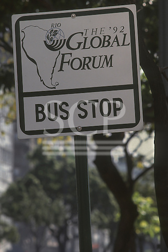 United Nations Conference on Environment and Development, Rio de Janeiro, Brazil, 3rd to 14th June 1992. Global Forum 92 bus stop sign with Global Forum logo.