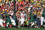 Wisconsin Badgers quarterback Russell Wilson (16) throws a pass during the 2012 Rose Bowl NCAA football game in Pasadena, California on January 2, 2012. The Ducks won 45-38. (Photo by David Stluka)