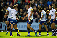 Jamie Roberts of Bath Rugby celebrates his try with team-mates. Pre-season friendly match, between Edinburgh Rugby and Bath Rugby on August 17, 2018 at Meggetland Sports Complex in Edinburgh, Scotland. Photo by: Patrick Khachfe / Onside Images