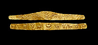Roman gold decorative jewellery head band, 1st century AD from Hierapolis Gumusler Necropolis. Hierapolis Archaeology Museum, Turkey . Against an black background