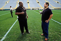 Former Green Bay Packers defensive end Willie Davis is interviewed by Ted Demme during the Lombardi Legends reunion at Lambeau Field in September of 2001. Demme was working on a feature-length film about Lombardi's Packers and died four months later.