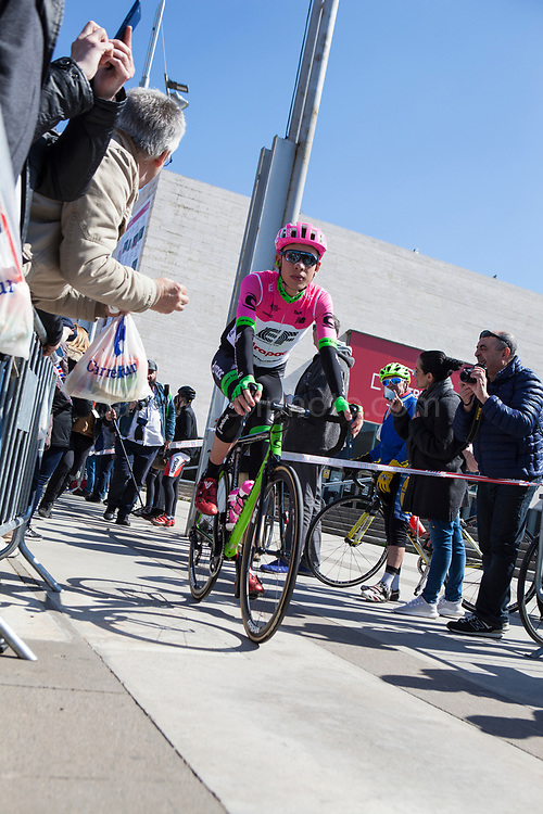 Hugh Carthy, British cyclist for EF Education First Cannondale Drapac. Stage 3 of the Volta Catalunya 2018 cycle race departs from Sant Cugat del Valles, en route to Camprodon - the stage was shortened from its planned finish at Vallter 2000 due to avalanche risk.