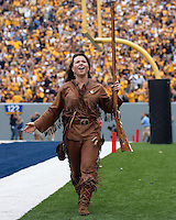 WVU Mountaineer mascot Rebecca Durst. The WVU Mountaineers defeated the East Carolina Pirates 35-20 at Mountaineer Field at Milan Puskar Stadium, Morgantown, West Virginia on September 12, 2009.