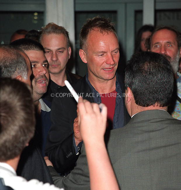 *** EXCLUSIVE ***..There was a mob scene outside Sheraton New York Hotel and Towers last night as fans waited for celebrities to depart from Songwriters Hall of Fame 2002 Awars. Security men struggled to maintain order as they ferociously pushed fans away from doors. STING, who attended the event, came out in a very good mood and somehow managed to get away from security people. Fans took advantage of the situation as they immediately rushed in to get their photos, autographs and even ticke their idol. New York, June 13, 2002. ..Please byline: Alecsey Boldeskul/NY Photo Press.   ..*PAY-PER-USE*      ....NY Photo Press:  ..phone (646) 267-6913;   ..e-mail: info@nyphotopress.com