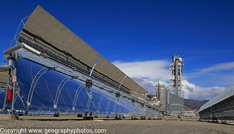 Curved concave reflector panels desalinisation plant at the solar energy scientific research centre, Tabernas, Almeria, Spain