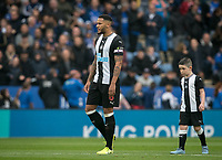 Jamaal Lascelles of Newcastle United and matchday mascot during the Premier League match between Leicester City and Newcastle United at the King Power Stadium, Leicester, England on 29 September 2019. Photo by Andy Rowland.