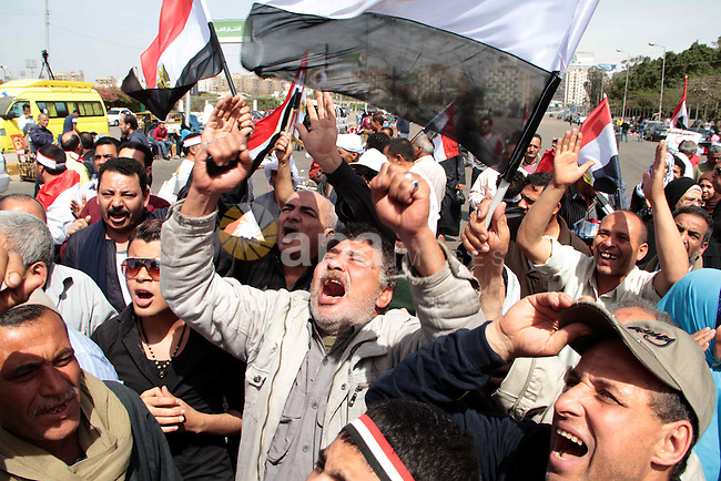 """Egyptian protesters gather in the highway street in Nasr City , to participate in Demonstration called """"Last chance"""", in Cairo on March 15, 2013. Egyptians demonstrate in support of armed forces and mandating it to manage the governance in the country. Photo by Tarek al-Gabas"""