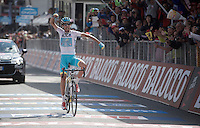 Fabio Aru (ITA/Astana) wins stage 1 on top of the Cervinia climb (2001m)<br /> <br /> Giro d'Italia 2015<br /> stage 19: Gravellona Toce - Cervinia (236km)