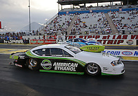 Apr. 5, 2013; Las Vegas, NV, USA: NHRA pro stock driver Deric Kramer (near) races alongside Matt Hartford during qualifying for the Summitracing.com Nationals at the Strip at Las Vegas Motor Speedway. Mandatory Credit: Mark J. Rebilas-