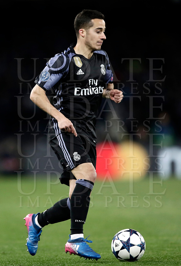 Football Soccer: UEFA Champions League Round of 16 second leg, Napoli-Real Madrid, San Paolo stadium, Naples, Italy, March 7, 2017. <br /> Real Madrid's Lucas Vazquez during the Champions League football soccer match between Napoli and Real Madrid at the San Paolo stadium, 7 March 2017. <br /> Real Madrid won 3-1 to reach the quarter-finals.<br /> UPDATE IMAGES PRESS/Isabella Bonotto