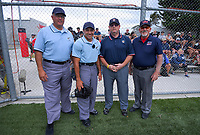 Match officials for the Wellington v North Harbour men's final. 2020 National Fastpitch Softball Championships at Fraser Park in Lower Hutt, New Zealand on Sunday, 16 February 2020. Photo: Dave Lintott / lintottphoto.co.nz