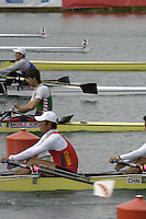 Munich, GERMANY, 2006, FISA Rowing, World Cup, CHN M4X from the start at the  Olympic Regatta Course, Munich, Thurs. 25.05.2006. © Peter Spurrier/Intersport-images.com,  / Mobile +44 [0] 7973 819 551 / email images@intersport-images.com..[Mandatory Credit, Peter Spurier/ Intersport Images] Rowing Course, Olympic Regatta Rowing Course, Munich, GERMANY