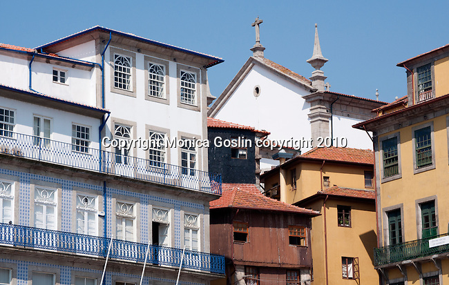 Buildings in the Ribeira section of the historical center of Porto, Portugal.