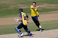Chris Wood of Hampshire celebrates taking the wicket of Tom Westley with the very first ball of the match during Hampshire vs Essex Eagles, Vitality Blast T20 Cricket at the Ageas Bowl on 25th August 2019