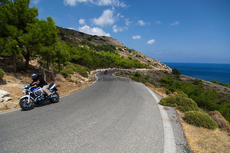 The beautiful roads and views of the Mediterranean Sea on the Spatha Peninsula, Crete, Greece, Europe