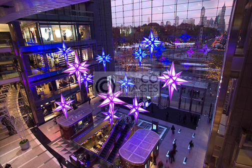 CHRISTMAS STARS ATRIUM TIME WARNER CENTER COLUMBUS CIRCLE MANHATTAN NEW YORK CITY USA