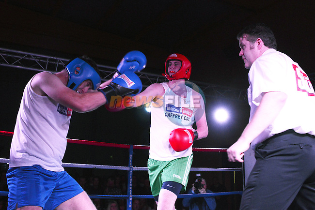 Thomas Corr (Newtown Blues) and Brian Smith (O'Raghallaighs) competing in the White Collar Boxing in the O'Raghallaigh's.