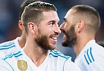 Sergio Ramos of Real Madrid celebrates after the Santiago Bernabeu Trophy 2017 match between Real Madrid and ACF Fiorentina at the Santiago Bernabeu Stadium on 23 August 2017 in Madrid, Spain. Photo by Diego Gonzalez / Power Sport Images