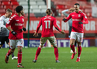 Karlan Ahearne-Grant of Charlton Athletic celebrates scoring the equalising goal with Ricky Holmes of Charlton Athletic during the Sky Bet League 1 match between Charlton Athletic and Peterborough at The Valley, London, England on 28 November 2017. Photo by Vince  Mignott / PRiME Media Images.