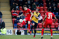O's Josh Coulson & Danny Kedwell during Leyton Orient vs Ebbsfleet United, Vanarama National League Football at the Matchroom Stadium on 10th March 2018