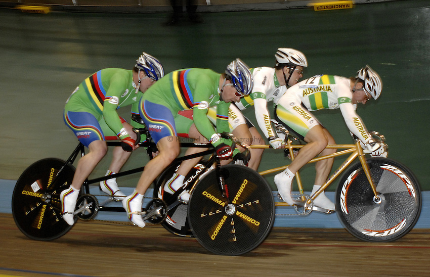 Photo: Richard Lane..VISA Paralympic World Cup 2007. Track Cycling. 11/05/2007. .Anthony Kappes and Barney Storey of Great Britain (green) over take Benjamin Demery and Shaun Hopkins of Australia in the tandem sprint final, male.