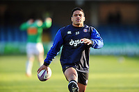 Ben Tapuai of Bath Rugby looks on during the pre-match warm-up. European Rugby Challenge Cup match, between Bath Rugby and Pau (Section Paloise) on January 21, 2017 at the Recreation Ground in Bath, England. Photo by: Patrick Khachfe / Onside Images