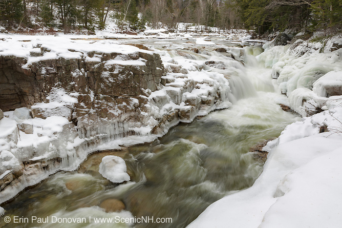 Iced over cascades at Rocky Gorge Scenic Area, along the Swift River, in Albany, New Hampshire during the winter months. Designated a scenic area in 1961, the Rocky Gorge Scenic Area is a 70-acre tract of land along the Kancamagus Highway.