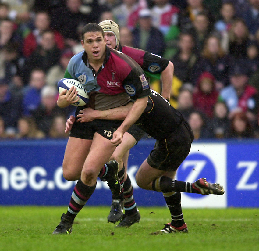 Photo. Richard Lane. .Harlequins v Newcastle at the Stoop, London. Zurich Premiership Rugby. 16-3-2002.Tony Diprose