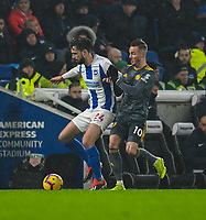 Brighton & Hove Albion's Davy Propper (left) under pressure from Leicester City's James Maddison (right) <br /> <br /> Photographer David Horton/CameraSport<br /> <br /> The Premier League - Brighton and Hove Albion v Leicester City - Saturday 24th November 2018 - The Amex Stadium - Brighton<br /> <br /> World Copyright © 2018 CameraSport. All rights reserved. 43 Linden Ave. Countesthorpe. Leicester. England. LE8 5PG - Tel: +44 (0) 116 277 4147 - admin@camerasport.com - www.camerasport.com