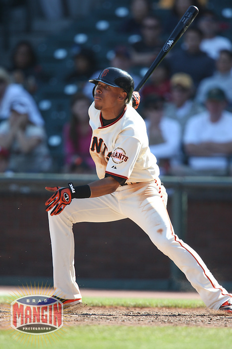 SAN FRANCISCO - SEPTEMBER 7:  Emmanuel Burriss of the San Francisco Giants bats during the game against the Pittsburgh Pirates at AT&T Park in San Francisco, California on September 7, 2008.  The Giants defeated the Pirates 11-6.  Photo by Brad Mangin