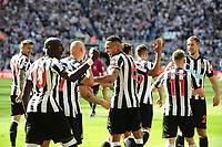 Newcastle United players celebrate going 3-0 up during Newcastle United vs Chelsea, Premier League Football at St. James' Park on 13th May 2018