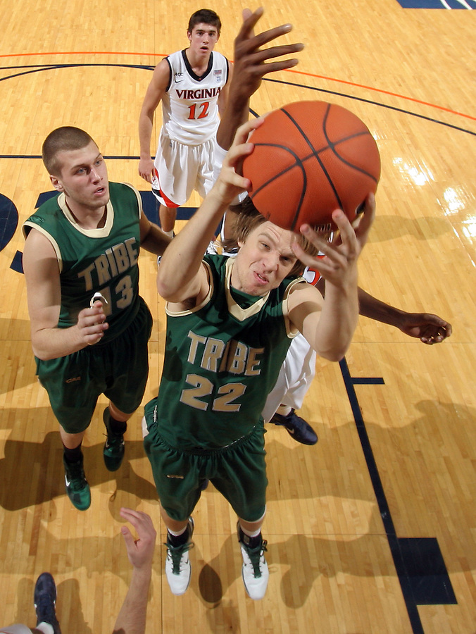 Nov. 12, 2010; Charlottesville, VA, USA;  Virginia Cavaliers beat William & Mary Tribe 76-52 at the John Paul Jones Arena.  Photo/Andrew Shurtleff