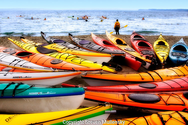 Kayak symposium in Port Townsend, WA. Kayak enthusiasts come from all over the Pacific Northwest and Canada to talk kayaking and demo new products.