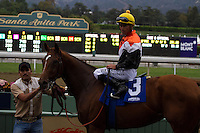 Garrett Gomez aboard Broken Dreams (3) winner of the Senator Ken Maddy Stakes at Santa Anita Park in Arcadia, California on October 20, 2012.
