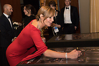 Allison Janney signs a poster backstage with the Oscar&reg; for performance by an actress in a supporting role for work on &ldquo;I, Tonya&rdquo; during the live ABC Telecast of The 90th Oscars&reg; at the Dolby&reg; Theatre in Hollywood, CA on Sunday, March 4, 2018.<br /> *Editorial Use Only*<br /> CAP/PLF/AMPAS<br /> Supplied by Capital Pictures